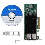 Wendry Gigabit-LAN-Karte, 10-Gbit/s-Desktop-Netzwerkkarte, Ethernet-Netzwerkkartenadapter für PCI-E-Server mit Zwei Anschlüssen und unabhängiger MAC-Adresse Für Intel X540-T2 PCI-E x8