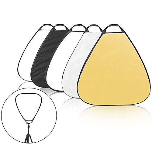 Selens 5-in-1 100cm Triangel Fotografie Faltreflektor Set mit Griff (Tragetasche Weiß Schwarz Gold Silber reflektor diffusor)