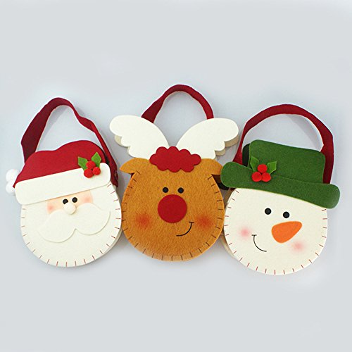 xytmy Weihnachtsgeschenke Geschenk jetzt tragbar Santa Snowman Rentier Apple Geschenk Verpackung Weihnachten Ornamenten mit Griff klein Tasche für Party Decor Kid Geschenk und behandeln Tasche Pack 3 (Behandeln Apple)