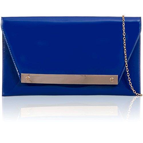 xardi London FLAT Patent Donna Clutch in pelle sintetica borsa da sera Prom Sposa Royal Blue