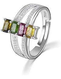 COLORFEY - anillo de ley 925 ajustable hecho a mano con piedras preciosas. Perfecto como regalo de San Valentín.