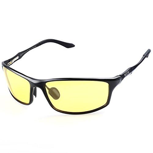DUCO Nachtsichtgläser bei blendenden Scheinwerfern Autofahren Nachtfahrbrille polarisierte Sportbrillen mit gelben Gläsern 8201Y ()