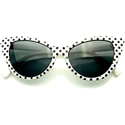 Polka Dot Gato Ojo Mujeres Mod Super Gato Gafas De Sol Moda (Blanco)