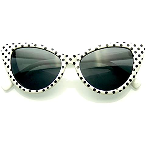 Emblem Eyewear - Polka Dot Gato Ojo Mujeres Mod Super Gato Gafas De Sol Moda