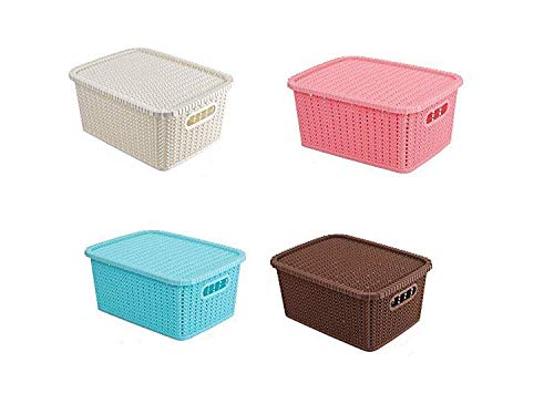 SKYFUN (LABEL) Plastic Woven Kitchen Office Tools Nesting Design Hollow Storage Open Basket Bin Desk Shelf with Lid Cover,Multi Color (Same Color Lid Cover, 5 Pieces)