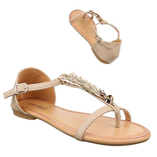 Damen Schuhe, 1021-13, SANDALEN ZEHNENTRENNER MIT DEKO Beige