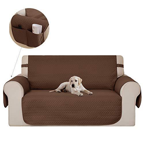 Deconovo Sofahusse sofaschoner Couch husse Sofaüberwurf Sesselbezug Dunkelbraun