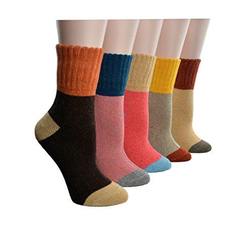 CrazySell 5 Paia di Donne Signore Ragazze Colori Misti Inverno Caldo Spessore Bohemia Stile Tubo (Cotone Rich Dress Calzini)