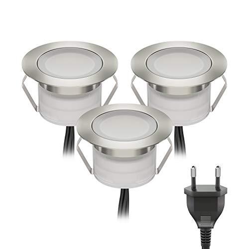 ledscom.de LED Boden-Einbauleuchte BIMI für außen warm-weiß, je 50lm, IP67, 45mm Ø 3er Set