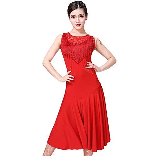 ChYoung Rumba Dance Kleider Damen Damen Mädchen Latin Kostüme Transluzente Spitze Quaste Dance (Latino Kostüm)