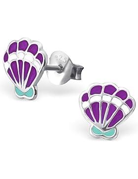 JAYARE Kinder-Ohrstecker Jakobsmuschel 925 Sterling Silber Emaille 7 x 7 mm lila violett Ohrringe