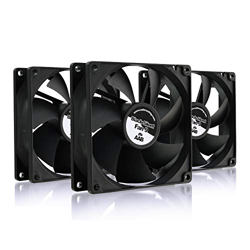 AAB Cooling Black Silent Fan 9 - Una Silenziosa e Molto Efficiente 92mm Ventola PC | Ventola Alimentatore PC | Raffreddamento PC | Ventola Aspirazione | 9cm | 3 Pin Cooling Fan - Set di 3 Pezzi