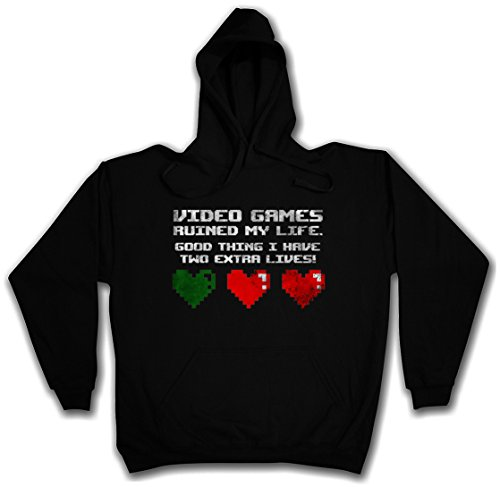 VIDEO GAMES RUINED MY LIFE HOODIE HOODED PULLOVER SWEATER SWEATSHIRT MAGLIONE FELPE CON CAPPUCCIO – Sizes S – 2XL Nero