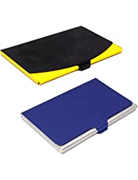 Stealodeal Blue And Black-Yellow Stainless Steel |Combo Of 2| Card Holder