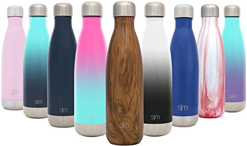 Simple Modern 1000ml Wave Wasserflasche - Trinkflasche Vakuum Isolierte Doppelwandige 18/8 Edelstahl - Hydro Camelbak Swell Bottle - Reisebecher, Flasche, Sporttrinkflasche - Muster: Holzdekor -