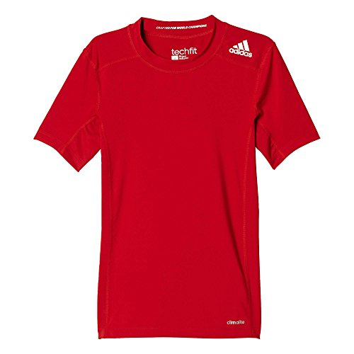 adidas Jungen T-Shirt Techfit Base, Rot, 128 -