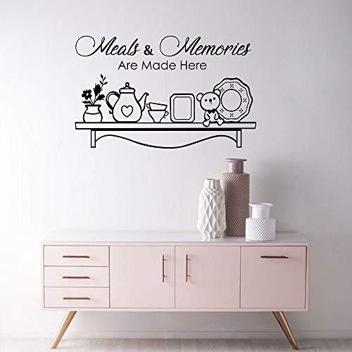 tattoo Mahlzeiten und Erinnerungen sind Hier gemacht Zitat Vinyl Wandkunst Aufkleber Familie Decals Home Dining Room Decor55 * 34 cm ()