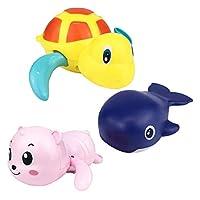 Wenosda 3Pcs Large Winding Animal Toy Swimming Pool Bathtub Water Floating Toys for Infants Children Bathing Swim Water Party (yellow turtle + dark blue whale + random color bear)