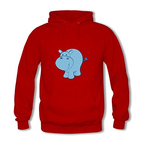 HGLee Printed Personalized Custom Hippo Classic Women Hoodie Hooded Sweatshirt Red--1