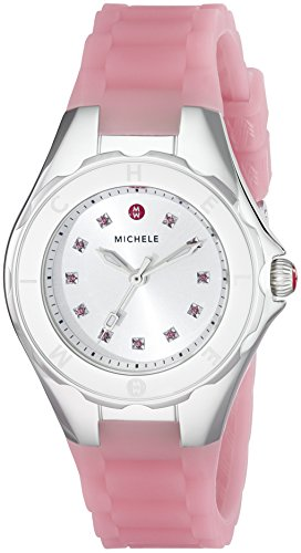 MICHELE WOMEN'S 35MM PINK SILICONE BAND STEEL CASE QUARTZ WATCH MWW12P000008