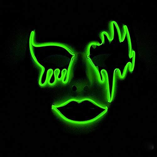 HOBBMS 2019 Halloween neue handbemalte leuchtende Maske personalisierte leuchtende Maske Party Ball dekorieren Maske kaltes Licht Maske, LED-Maske Rave, Halloween-Masken for Erwachsene beängstigend, H