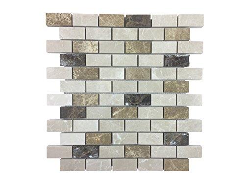 Azulejos de mosaico de mármol • Revestimiento pared • Ladrillos para decorar cocinas, dormitorios, y cuartos de baño 30,5cm x 30,5cm | Valencia