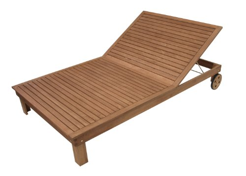 DEGAMO Doppelliege mit Rollen 200x120cm, Eukalyptus Holz