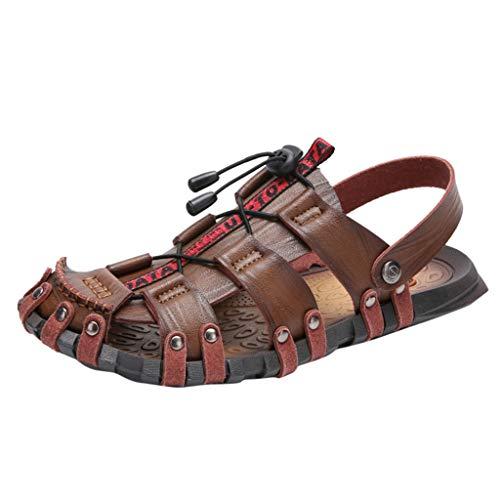 trand Sandalen Casual Leder Sandalen Atmungsaktive Schuhe Outdoor Strand Schuhe Einfarbig Rutschfeste Sandalen Freizeit Römerschuhe Loafer Flats Worker Schuhe ()