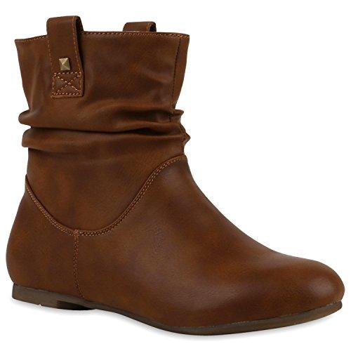 Stiefeletten Damen Schlupfstiefel Stiefel Flach Boots Nieten Leder-Optik Schlupfstiefeletten Schuhe 120941 Hellbraun 40 Flandell