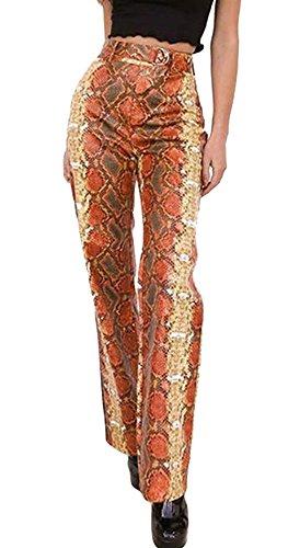 Rinalay Elegantes Primavera Mujer Otoño Patrón Estampadas con Cintura con Serpientes Cinturón Alta De Cremallera Slim Fit Largos Cómodo Trousers Pantalon Rectos Estilo (Color : Rot, Size : M)