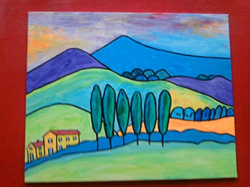 Toskana, Acryl auf Malkarton,24 cm x 30 cm,Original,mit Leuchtfarbe,neu