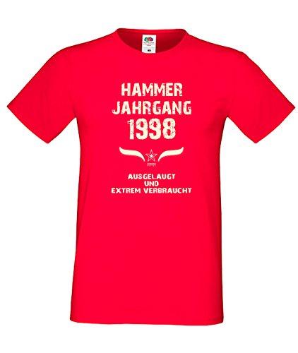 Sprüche Motiv Fun T-Shirt Geschenk zum 19. Geburtstag Hammer Jahrgang 1998 in schwarz blau rot grün braun auch in Übergrößen 3XL, 4XL, 5XL rot-01