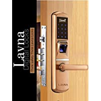 Lavna Locks Digital Door Locks for Wooden and Metal Doors/Fingerprint, Password, RFID Card and Key, for Home and Office Use (Large, Multicolour)