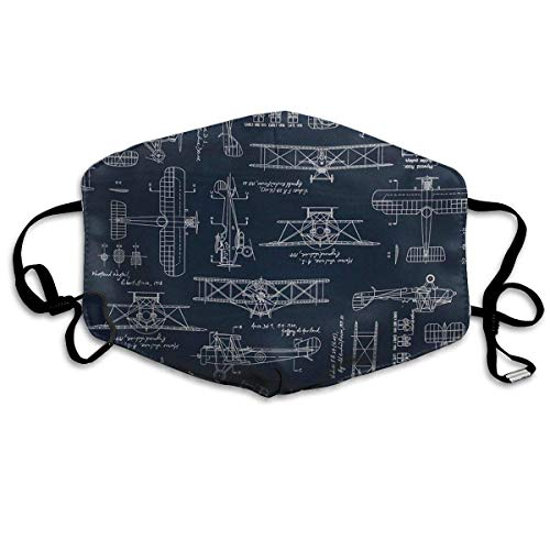 Daawqee Staubschutzmasken, Aviation Aviators Transportation Blue Face Masks Breathable Dust Filter Masks Mouth Cover Masks with Elastic Ear Loop
