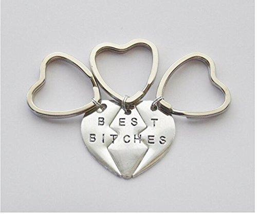 Bitch Schlüssel Ring 3Best Bitches Schlüssel Ringe 3Bitch Schlüsselanhänger Drei Best Bitches Schlüsselanhänger 3Best Bitches Key Ring Set 3BFF Schlüsselanhänger BFF Geschenke