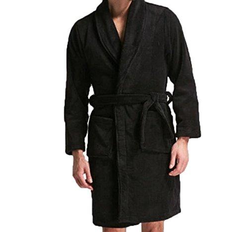 Preisvergleich Produktbild Herbst Und Winter Dicke Warme Nachthemd Haus Service Lange Ärmel Reine Farbe Männer Pyjamas Bademäntel,Black-M