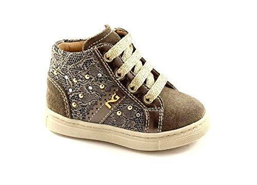 BLACK JARDINS JUNIOR 21112 Brown Shoe chaussure enfant mi zip dentelle 21
