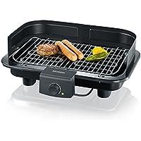 Severin  PG 8528 - Barbacoa grill, ajustable a 2 niveles, regulador de la temperatura, microinterruptor de seguridad, color negro