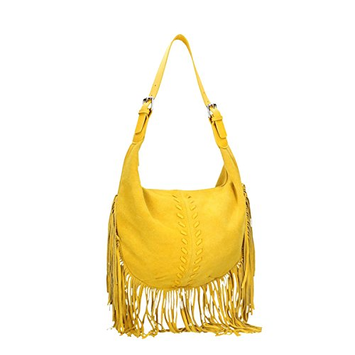 Chicca Borse Borsa a tracolla in pelle 40x27x7 100% Genuine Leather Giallo
