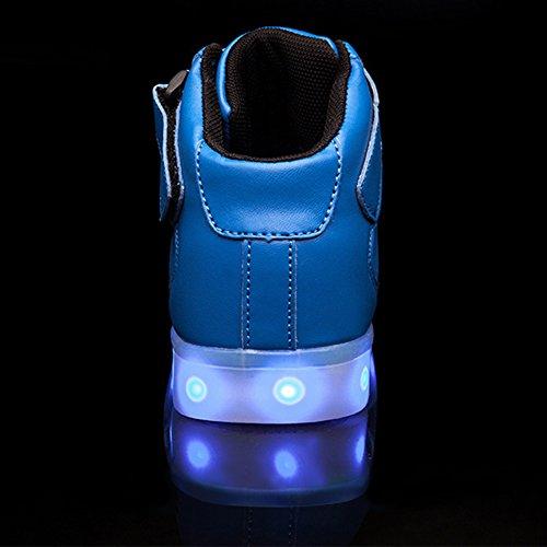 SAGUARO® 7 Farbe USB Aufladen LED Leuchtend Sport Schuhe Sportschuhe Sneaker Turnschuhe für Unisex-Kinder Jungen Mädchen Blau