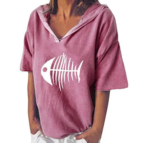 Kostüm Mit Jeans Womens - POPLY Bluse Shirt für Damen Frauen Einfach Kurzarm Hoodie Beiläufige Kapuzenpullover V-Ansatz Fisch Knochen Gedruckte mit Kapuze Oberseiten T-Shirt (Rosa,XL)