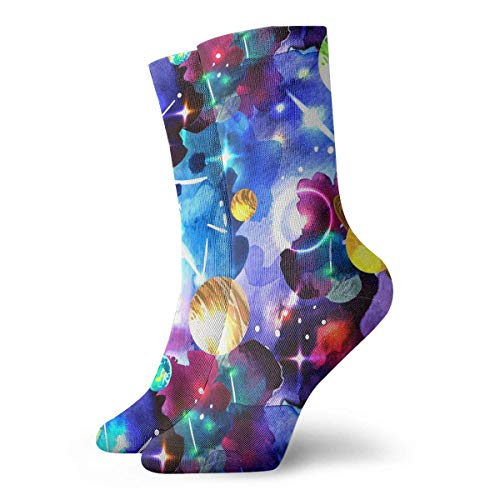 dfegyfr Adult Watercolor Space Pattern Cushion Ankle Socks -