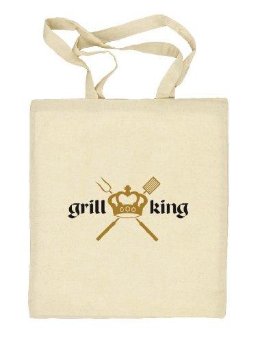 Shirtstreet24, GRILL KING, Grillen Stoffbeutel Jute Tasche (ONE SIZE) Natur