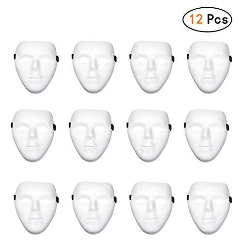 Hehong 12 Stücke Vollgesichtsmaske Halloween Maske Weiß DIY Maske Kreative Freies Design Maske für Kinder Erwachsene Kunststoff Maske Für Party Geburtstag