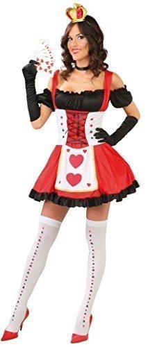 Damen Sexy Königin der Herzen Alice im Wunderland Büchertag Henne Do Märchen Karten Spiel Mädchen Vegas Kostüm Kleid Outfit groß - Rot, 14-18