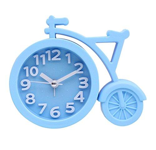 Oyedens Analog Kunststoff Wecker mit Snooze - Fahrrad Uhr mit Ziffernblatt Alarm Licht - Leise Kreativ Kunststoff Tischuhr ohne Ticken (Blau)