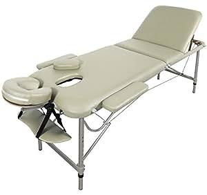 Table de Massage - Alu - seulement 11kg, pliante Confort, beaucoup d'accessoires, 3z, creme jaune