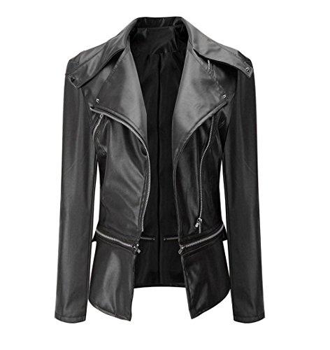 Damen Jacke PU-Leder | ZEZKT Mantel-Lederjacke Cool Dünn Bomberjacke Kurz Blazer Steppmantel Biker Jacke Outwear (L, Schwarz)
