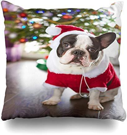 GFGKKGJFF0812 Claus Red Pet Französische Bulldogge gekleidet Santa Kostüm Look Weihnachten Urlaub Hund Welpe Lustig Happy Kissenbezug 18 x 18 für Sofas Sitze Überwurf Kissenbezug für Mädchen (Hunde Urlaub Weihnachten Kostüm)