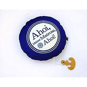 Spieluhr blau/weiß Ahoi kleiner Matrose Kissen 23×23 Herr Fuchs Wolfgang Müller Baby